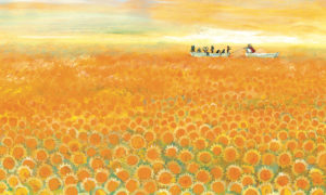 zonnebloemzee-prent